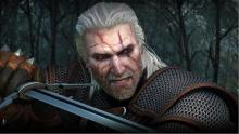 Geralt holding his silver sword and ready to kill a beast