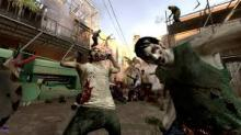A gruesome zombie attack in Left 4 Dead 2