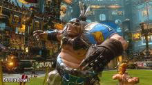 An orc football player from Blood Bowl 2