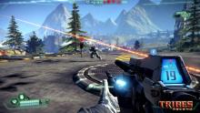In Tribes Ascend, you use high-tech, high-powered weapons