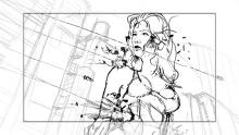 Cyberpunk 2077's early concept art of the mysterious woman completely unfazed by the barrage of bullets