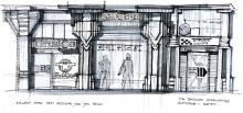 Concept art of the art deco-inspired buildings that will be in Cyberpunk 2077