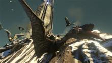 Here is a survivor riding a Quetzalcoatlus near one of the obelisks on top of a mountain.