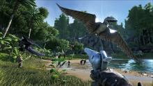 A group of survivors fighting off a Dimorphodon attack.