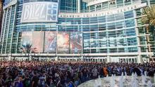 The crowd waiting to get into Blizzcon.