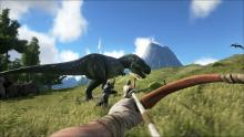 Hunt down dinosaurs to survive.