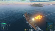 Combat on the high seas rages between heavy cruisers.