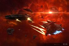 Eve Online cruisers trade fire in a fierce firefight.