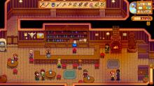Visit the saloon to interact with your neighbors late at night.