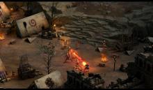 A combat encounter at a village.