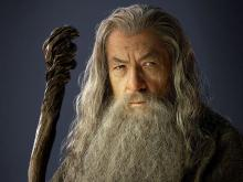 Ian McKellan Posing as Gandalf the Grey