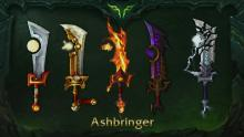 One of the Paladin Class' Artifact weapons, the Ashbringer with it's different possible designs
