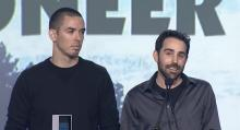 Marc (left) and Brandon (right) accept an award at the Game Developers Choice Awards