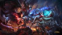 Ashe, Morgana, Maokai, Graves, and Darius fight in this official League of Legends art
