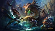Akali, Dr. Mundo, Teemo, and others face off against the mighty Baron Nashor in this official art from League of Legends