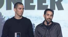Marc Merrill (right) and Brandon Beck (left) accepting an award at the Game Developers Choice Awards