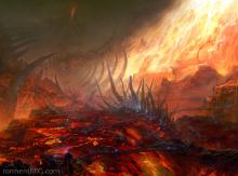 Char burnt ground, nobody knows yet how far it extends into the terrain of the new Earth.