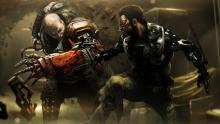 Adam Jensen in a sanguinary scuffle.