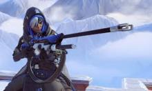 One of Overwatch's characters Anna, a long range sniper ready to take down a target.