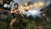 A screenshot of Lara Croft running from an out of control airplane.