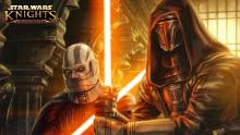 A wallpaper for Knights of the Old Republic featuring longtime friends and nemeses Darth Malak and Revan.