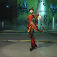 Though Mercy is usually in her Valkyrie suit, her devil skin is also available.