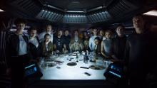 A group shot of the Covenant crew, gathered on the bridge depicted in Prologue: The Last Supper.