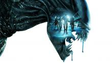 Another gorgeous marketing image for the film, depicting the Covenant crew overshadowed by a snarling xenomorph.