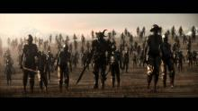 A scene from the opening movie showing an army of undead soldiers attacking the city of Neverwinter at the behest of Valindra, the lich queen.