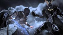 A scene from the opening movie of Neverwinter Nights 2, depicting the climactic battle between Ammon Jerro and the King of Shadows
