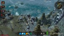A screenshot of the player's party overlooking the Sea of Swords from a high vantage point