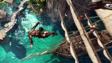 Assassin dives from his ship into the Ocean Assassin's Creed IV Black Flag
