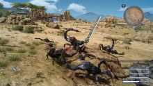 Showing the fast-paced battle system of Final Fantasy 15 in action.