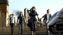 Early concept art of Noctis, Prompto, Ignis, and Gladiolus.