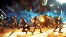 An epic wallpaper of the Final Fantasy 15 protagonists in action.