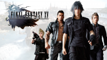 A classic wallpaper featuring the main cast of Final Fantasy 15.