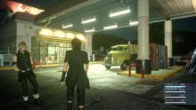 Noctis and Prompto at a gas station in an early demo of Final Fantasy 15.