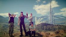 Noctis takes pictures with his friends during their adventure