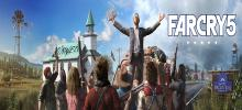This teaser art shows the main villain from Far Cry 5 addressing an armed troupe of locals.