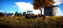 A balding man wielding a huge knife stalks past a harvesting tractor looking for something or someone in the fields.