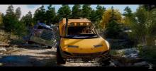 A buggy like sports vehicle races down a dirt road with a big rig truck in hot pursuit.
