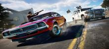 A bright red muscle car gets chased down by a pickup, all the while shooting at each other. The muscle car has a personalised plate.