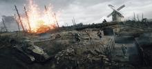 This image shows soldiers and a tank trying to cross the terrain with trenches dug through it, amidst the chaos of battle.
