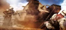 A soldier is scrabbling on his back to get away from the oncoming approach of a tank which is about to crush him.