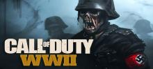 A zombie dressed in Nazi gear walks across the battlefield with the wording Call Of Duty WWII in the foreground.