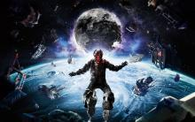 Isaac Clarke depicted during one of Dead Space's zero gravity sequences.
