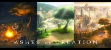 The title graphic for Ashes of Creation showing three of the different environments that players can expect in the game.