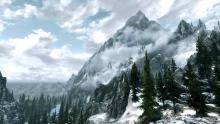 A screenshot of Skyrim's staggering mountain ranges.