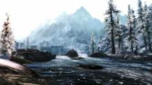 A shot of one of Skyrim's icey lakes.