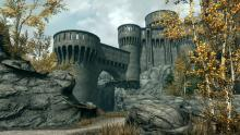 The mighty fort of the Dawnguard - the vampire hunters - found in the wilderness past Riften.
